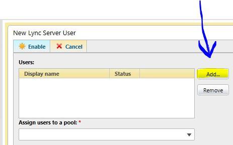 Enable user in LYNC