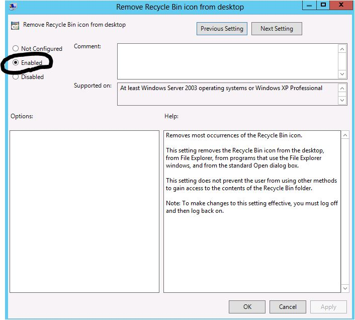 Recycle Bin using Group Policy