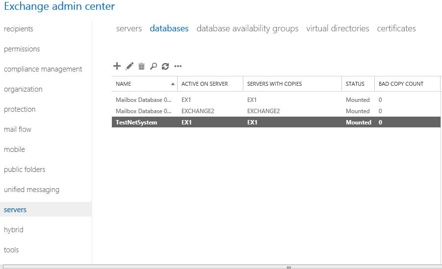 New Database Exchange 2013