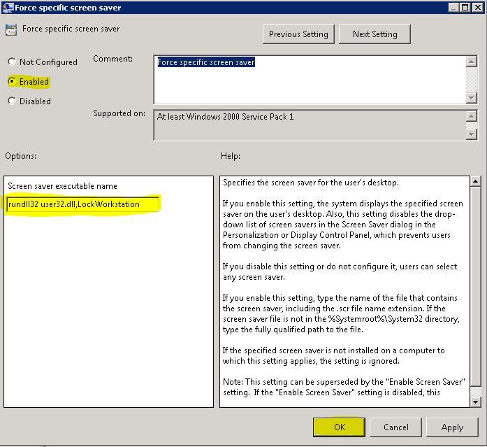 configure screen saver via GPO