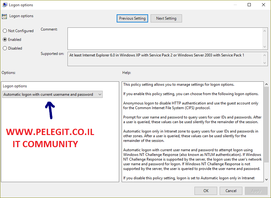 configure automatic logon to browse