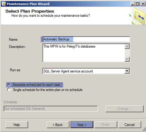Maintenance Plans - Full Backup SQL database
