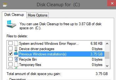 Remove Windows.old folder