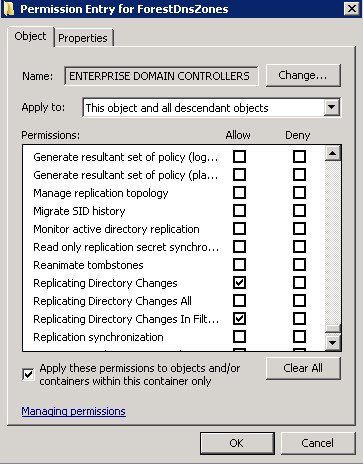 ENTERPRISE DOMAIN CONTROLLERS doesn't have Replicating Directory Changes