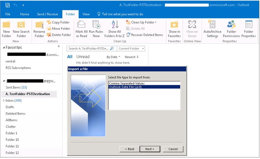 Office 365 mailboxes via PST