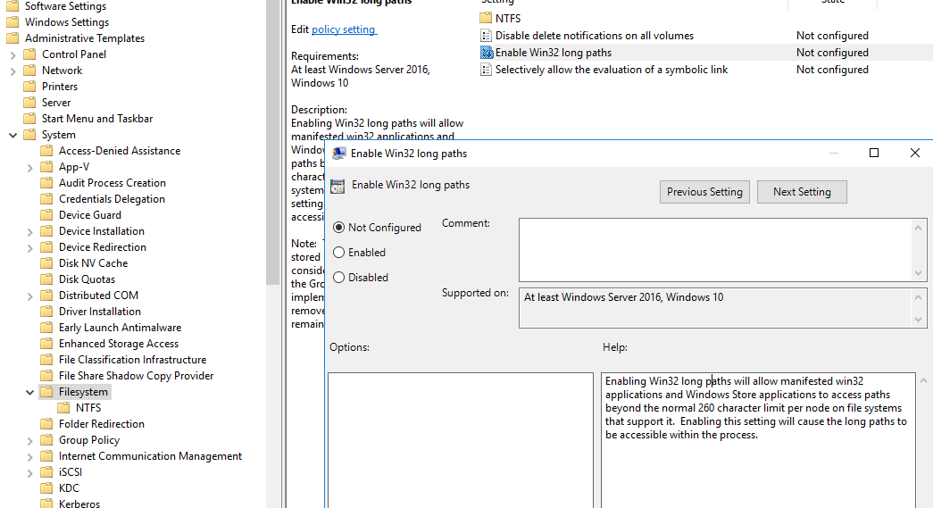 Enable Long Path Windows Server 2016