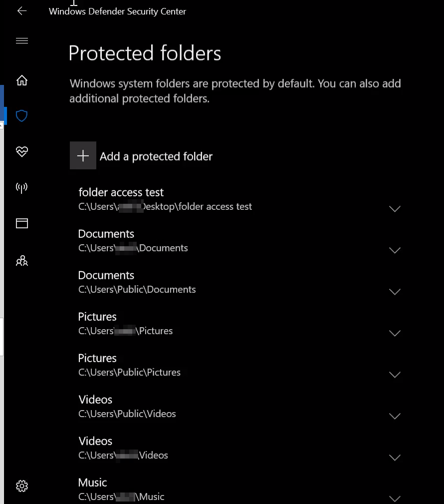 Protected Folders