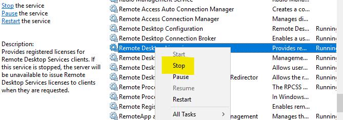Remove Terminal Server license