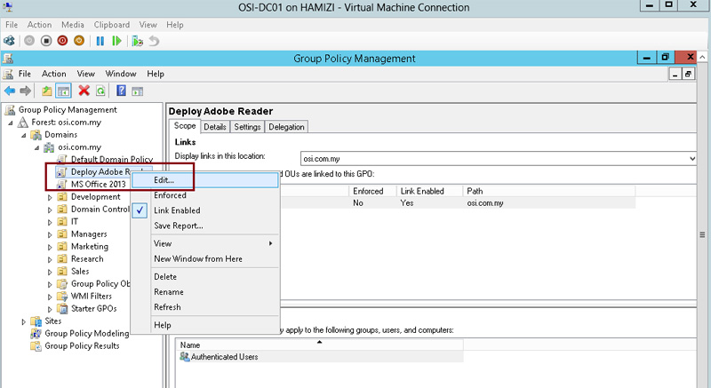 How to install client software from Windows Server 2012 R2 using Group Policy 3