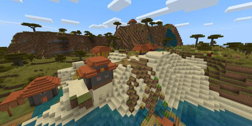 Hillside Savanna Village - Top 10 Best PE Seeds 1.16.5 for Minecraft | Best Pocket Edition seeds