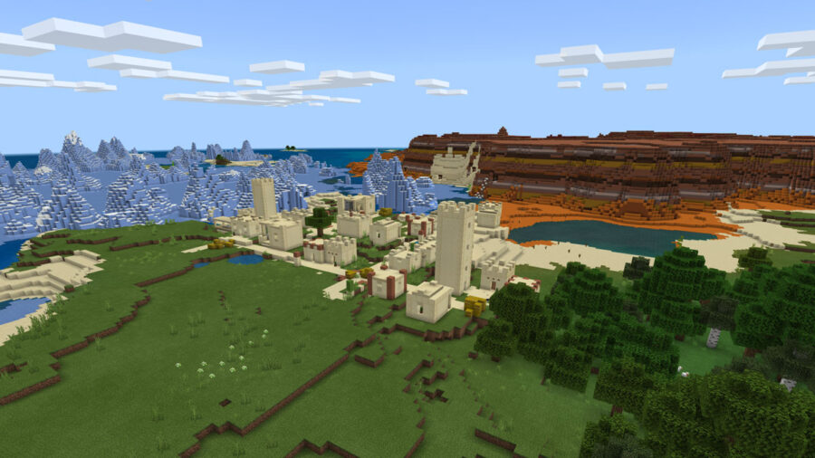 Desert Village Surrounded by Biomes Seed - Top 10 Best PE Seeds 1.16.5 for Minecraft | Best Pocket Edition seeds