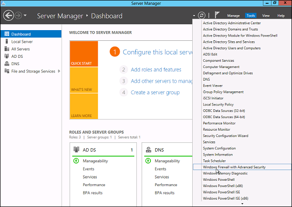 How to setting Windows Firewall on Windows Server 2012 1