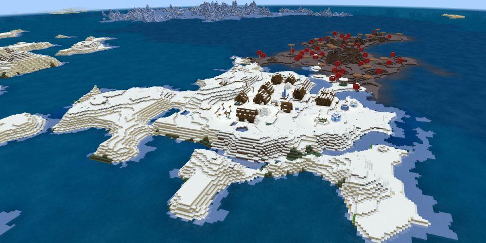 Frozen Mushroom Island - Top 5 Best Bedrock Island  Seeds 1.17.1 / 1.16.5 for Minecraft